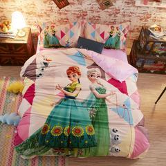 宝宝绒数码印花系列套件 1.2m床定制 床笠款 冰雪姐妹