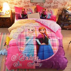 宝宝绒数码印花系列套件 1.2m床定制 床笠款 开心姐妹