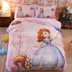 宝宝绒数码印花系列套件 1.5m床定制 床笠款 苏菲亚花园