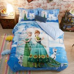 宝宝绒数码印花系列套件 1.8m床定制 床笠款 雪国姐妹