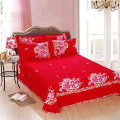 全棉加厚磨毛四件套秋冬保暖全棉纯棉四件套加厚 1.5-1.8床 情深意切