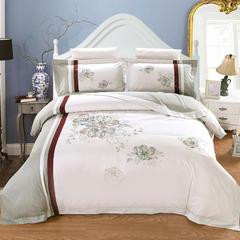 浩情国际  13376--全棉绣花简约4-6套件系列 床单式 简约方垫 百花争艳-灰