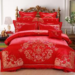 2017浩情新款北京pk10开奖上鼎狐网四件套结婚六件套大红床罩八件套床上用品十件套 1.5m(5英尺)床 皇家密语八件套