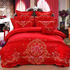 2017浩情新款婚庆四件套结婚六件套大红床罩八件套床上用品十件套 1.5m(5英尺)床 世纪之约四八件套
