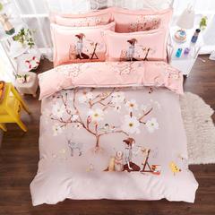 新款全棉活性磨毛四件套秋冬加厚床上用品床单被套保暖四件套 1.5m(5英尺)床 桃花源-灰