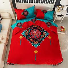 新款全棉活性磨毛四件套秋冬加厚床上用品床单被套保暖四件套 1.5m(5英尺)床 盛世王朝