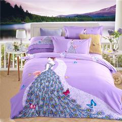 新款全棉活性磨毛四件套秋冬加厚床上用品床单被套保暖四件套 1.5m(5英尺)床 完美爱人-紫