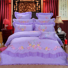 婚庆四件套结婚六件套大红床上用品八十件套-浪漫之约 1.5m(5英尺)床 浪漫之约床单六件套紫色