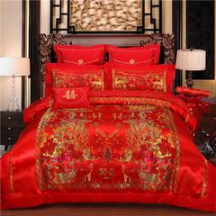 浩情国际家纺  婚庆绸缎4-6件套 四件套1.5宽-1.8宽床(标准) 百子图风景