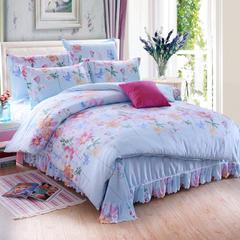 新款斜纹活性磨毛床单款四件套 单品被套 床单  枕套 1.5m(5英尺)床 花季芬芳-蓝