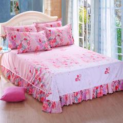 新款活性斜纹磨毛单床单系列 250*250 情絮花语-粉