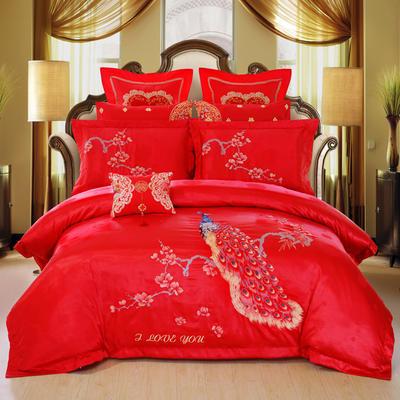 2019秋冬更新上市婚庆四件套结婚六件套大红刺绣八件套床上用品十件套 1.5m(5英尺)床 花开凤舞床单款四件套
