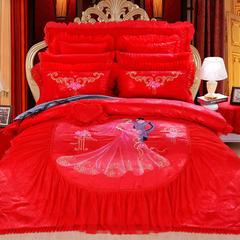 婚庆四件套结婚六件套大红蕾丝八件套新款床上用品十件套粉色 床单四件套 情意绵绵红色
