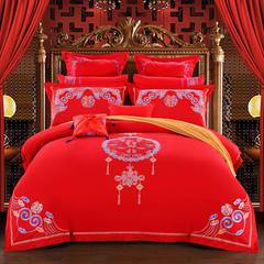 新款婚庆四件套结婚六件套大红八十件套自由组合系列 1.5-1.8床 中国风采十件套