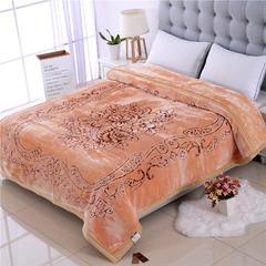 9月15号-5D雕花婚庆毛毯系列 5D纯色-雕花彩印水晶云毯 包装/个 牡丹佳人-米黄