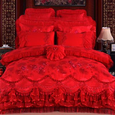 2019秋冬更新上市 婚庆韩版蕾丝系列  花语飘香-红 2.0米床 四件套床单款