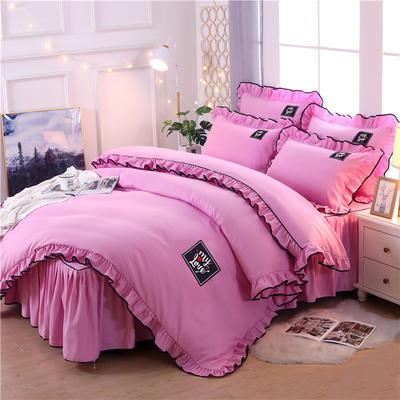 2020新品上市特加厚床裙四件套系列韩版公主风 全棉四件套 1.5m(5英尺)床 缤纷如梦-纯粉