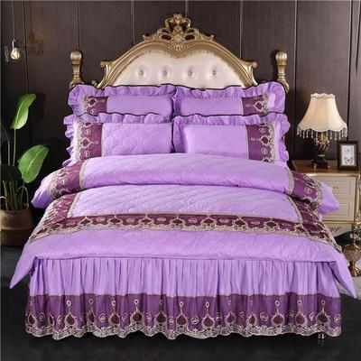 2020秋冬更新上市韩版蕾丝刺绣床裙四件套-皇冠 1.5m(5英尺)床 皇冠-纯紫