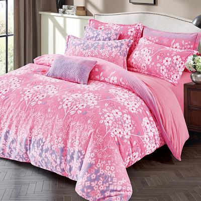2020秋冬新品高品质雕花绒牛奶绒四件套 1.5m床单款四件套 巴洛克风情-粉紫
