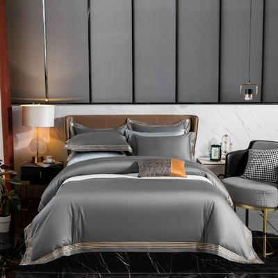2021新品100支高端刺绣长绒棉利欧系列 1.8m床四件套 利欧-金属灰
