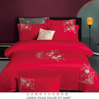 2021新款100支高端刺绣系列四件套 1.5m床单款四件套 花之蔓-大红