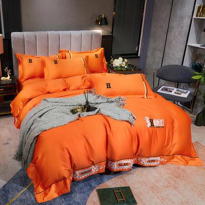 2021新款120支伊莲娜系列四件套 1.5m床单款四件套 橙色