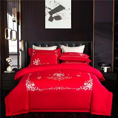 2021新款150支长绒棉花漾系列四件套 1.5m床单款四件套 大红