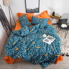 60支埃及长绒棉四件套系列(小狐狸 fox(蓝橙)) 标准(1.5-1.8m)床 小狐狸 fox(蓝橙)