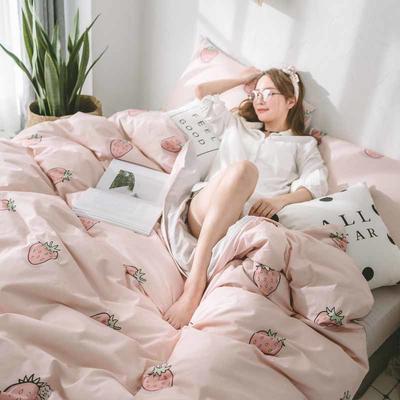 2018新品全棉喷气水洗棉四件套 1.2m床单款 草莓甜心