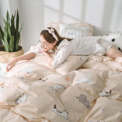 2018新品全棉喷气水洗棉四件套 1.2m床单款 猫咪