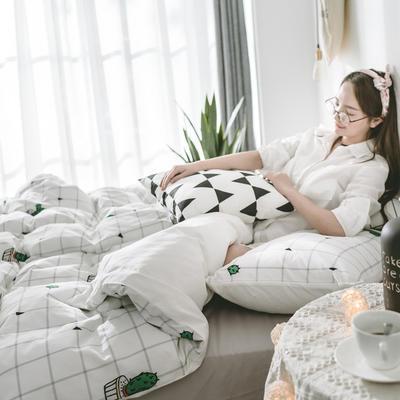 2018新品全棉喷气水洗棉四件套 1.2m床单款 仙人掌