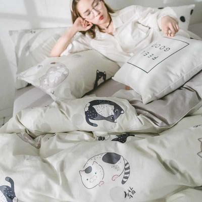 2018新品全棉喷气水洗棉被套 150x200cm 肥猫