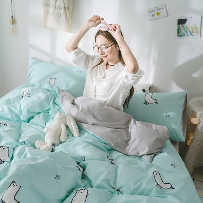 2018新品全棉喷气水洗棉被套 150x200cm 羊驼