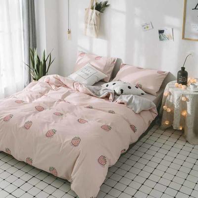 2018新品全棉喷气水洗棉床单 180cmx230cm 草莓甜心