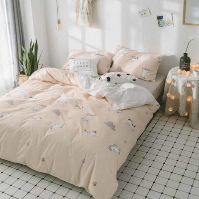 2018新品全棉喷气水洗棉床单 180cmx230cm 猫咪
