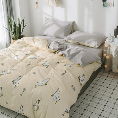 2018新品全棉喷气水洗棉床单 180cmx230cm 小鸭