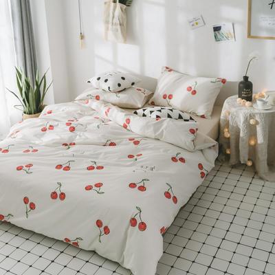 2018新品全棉喷气水洗棉床单 180cmx230cm 樱桃