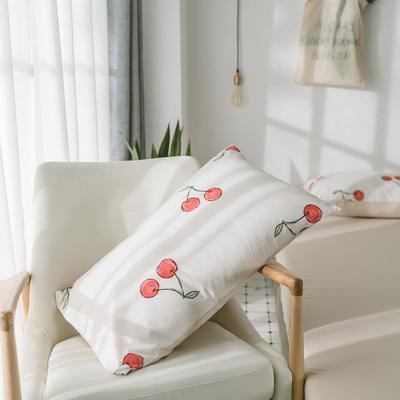 2018新品全棉喷气水洗棉枕套 48cmX74cm 石榴