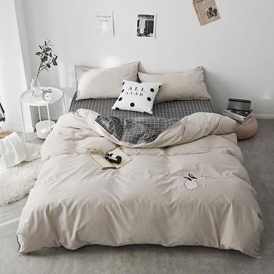 2018新款-32支全棉水洗棉绣花四件套 三件套1.2m(4英尺)床 摩颜咖