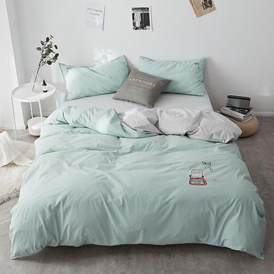 2018新款-32支全棉水洗棉绣花四件套 三件套1.2m(4英尺)床 石绿
