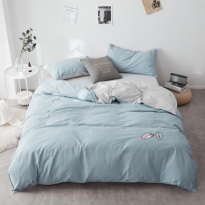 2018新款-32支全棉水洗棉绣花四件套 三件套1.2m(4英尺)床 天空蓝