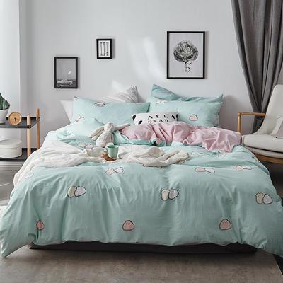 2018新款-全棉加厚水洗棉拼绒款四件套 1.2m(4英尺)床 包子