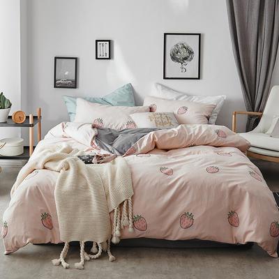 2018新款-全棉加厚水洗棉拼绒款四件套 1.2m(4英尺)床 草莓甜心