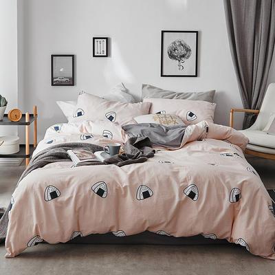 2018新款-全棉加厚水洗棉拼绒款四件套 1.2m(4英尺)床 饭团