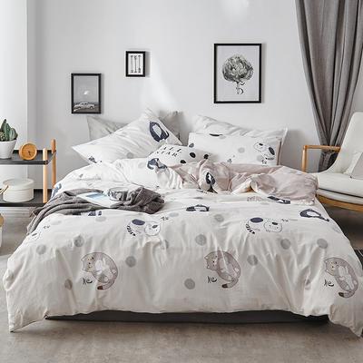 2018新款-全棉加厚水洗棉拼绒款四件套 1.2m(4英尺)床 肥猫