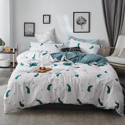 2018新款-全棉加厚水洗棉拼绒款四件套 1.2m(4英尺)床 海草