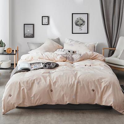 2018新款-全棉加厚水洗棉拼绒款四件套 1.2m(4英尺)床 猫咪