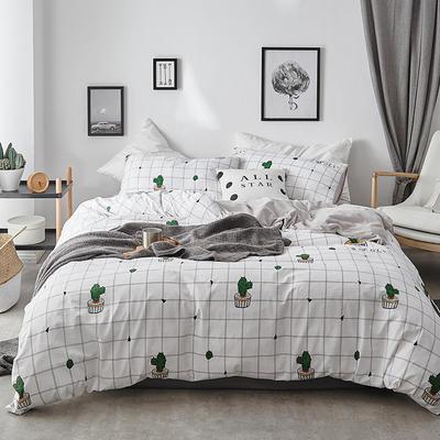 2018新款-全棉加厚水洗棉拼绒款四件套 1.2m(4英尺)床 仙人掌