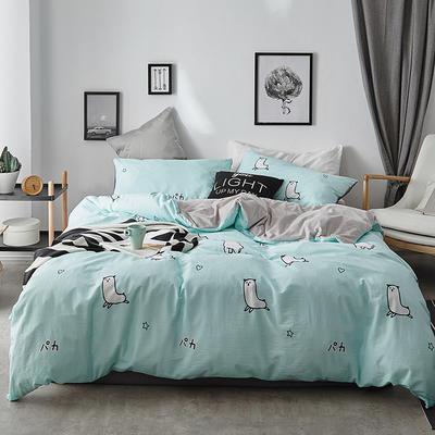 2018新款-全棉加厚水洗棉拼绒款四件套 1.2m(4英尺)床 羊驼