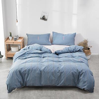 2018新款-30支全棉加厚水洗棉印花加绣花四件套 三件套1.2m(4英尺)床 牛仔蓝